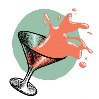 Illustration mit spritzendem trinkglas