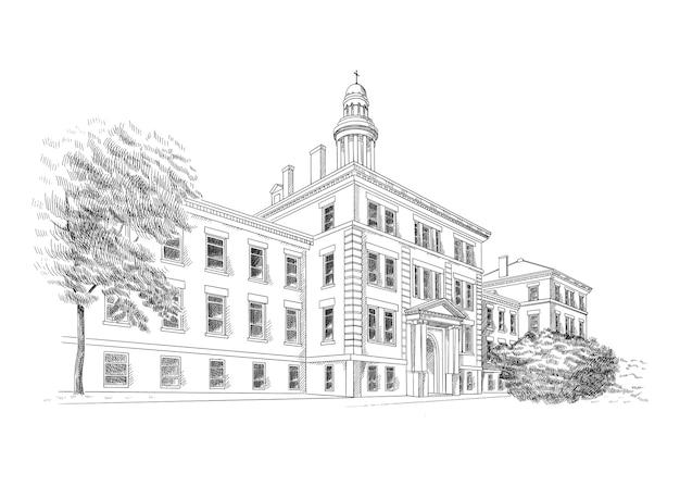 Illustration mit stil klassischer architektur. historisches gebäude skizzenkunst, schwarz und weiß.