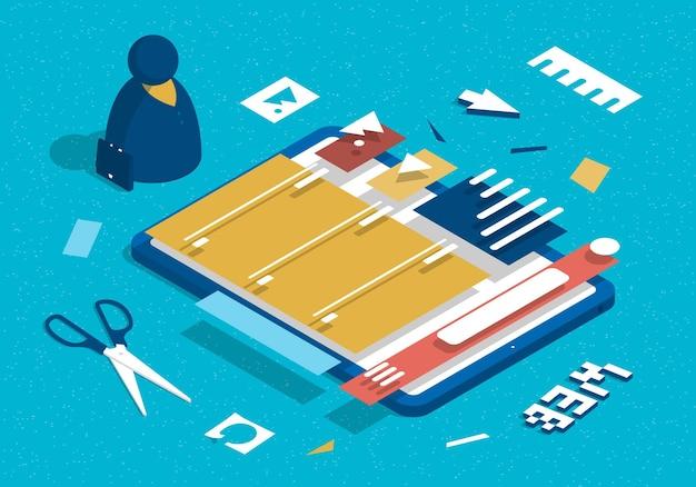 Illustration mit tablette und abstraktem designer