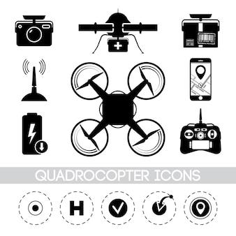 Illustration mit verschiedenen quadrocopter-symbolen im minimalistischen stil. drohne mit kamera