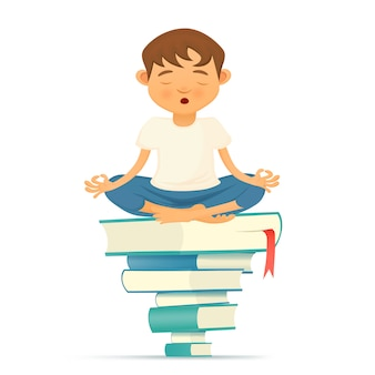 Illustration mit yong yoga meditationsjunge, der auf büchern sitzt