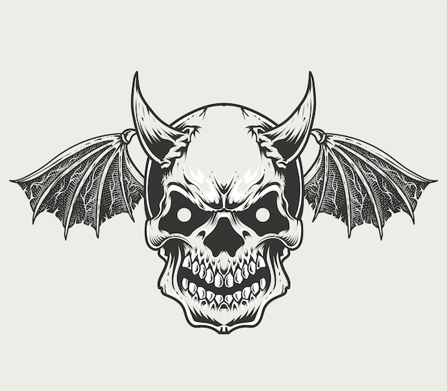 Illustration monochromen dämonenschädel