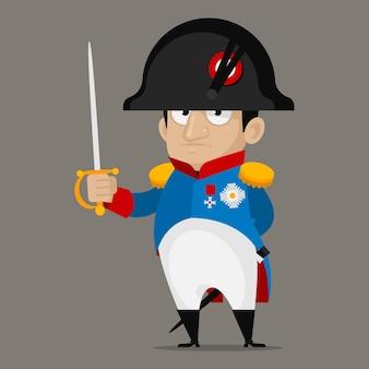 Illustration, napoleon bonaparte-cartoon-figur hält schwert, format eps 10