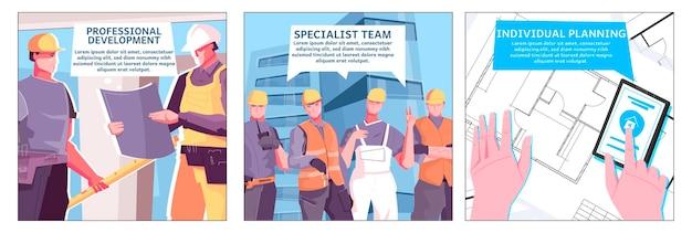 Illustration neuer gebäude mit drei spezialistenteams und individuellen planungsüberschriften