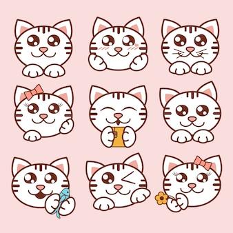 Illustration niedliche katzenikonen eingestellt. süße kätzchenaufkleber im flachen stil.