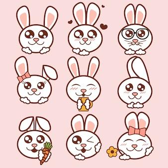 Illustration niedlichen kaninchen ikonen gesetzt. süße kaninchenaufkleber im flachen stil.