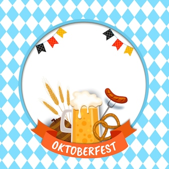 Illustration oktoberfest mit essen und drinkl auf blau