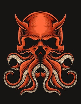 Illustration oktopusschädel