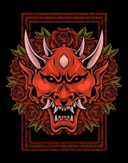 Illustration oni-maske mit rosenblüte