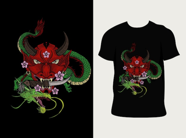 Illustration oni maskendrache mit t-shirt design