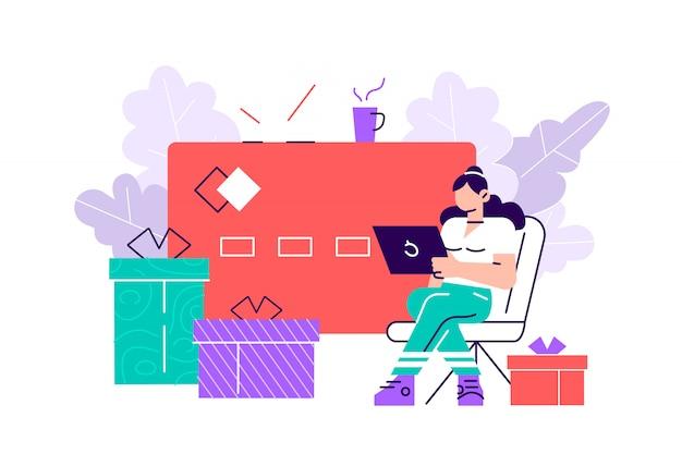 Illustration, online-shopping, kreditkartenzahlung, geschenkkarte. flache art moderne designillustration für webseite, karten, plakat, soziale medien.