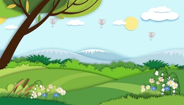 Illustration.papierschnittart der feldlandschaft in der sommerzeit, papierkunst-frühlingslandschaft mit blauem himmel und heißluftballonherzfliegen, flacher panorama-cartoon für feiertagsbanner