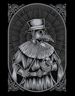 Illustration pestdoktor gravurstil