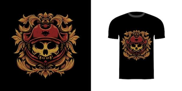 Illustration piratenschädel mit gravuroranament für t-shirt-design