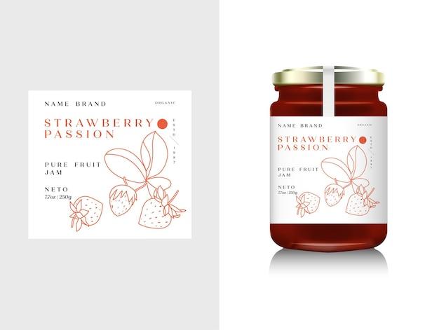 Illustration realistische glasflaschenverpackung für fruchtmarmelade. erdbeermarmelade mit designetikett, typografie, erdbeersymbol