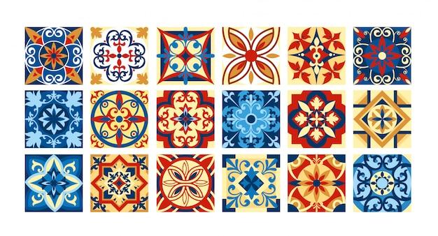 Illustration sammlung von keramikfliesen in retro-farben. eine reihe von quadratischen mustern im ethnischen stil. illustration.