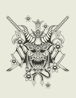 Illustration samurai kopf monochromen stil