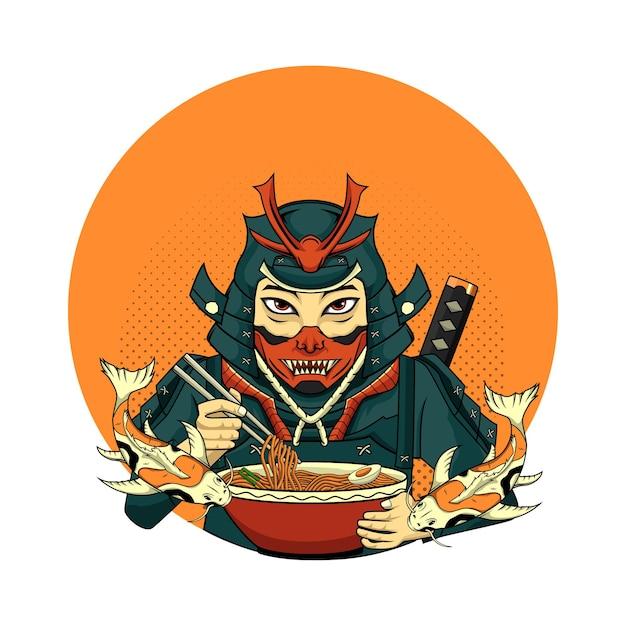 Illustration samurai mit koi für t-shirt-design in weißem hintergrund