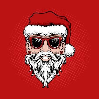 Illustration santa claus kopf handzeichnung mit sonnenbrille