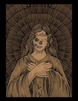 Illustration santa maria totenkopf mit gravur stil