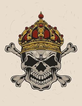 Illustration schädel könig kopf