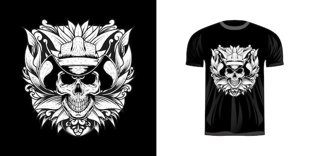 Illustration schädel rodeo mit grunge für t-shirt design