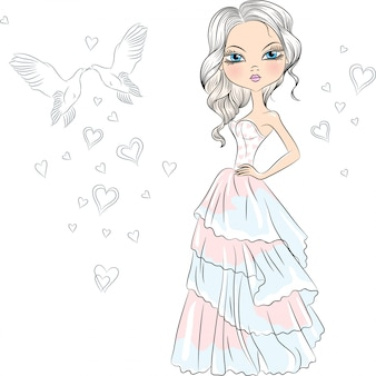 Illustration schöne modische mädchenbraut in ihrem hochzeitskleid