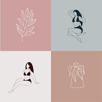 Illustration schöne weibliche figur und blumen