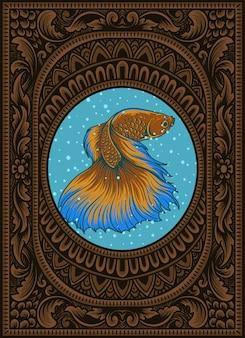 Illustration schöner betta-fisch auf vintage-aquarium-rahmen