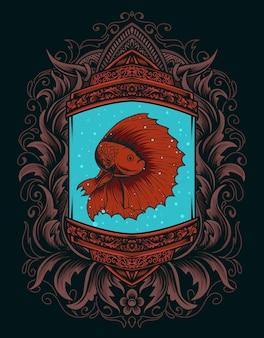 Illustration schöner betta fisch auf vintage aquarium