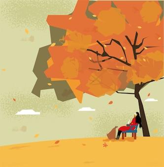 Illustration schönes mädchen, das medizinische oder hygienische maske trägt, die allein im park mit ihrem hund im herbst sitzt.