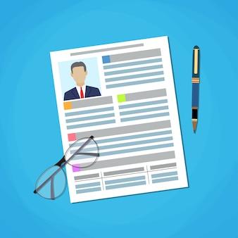 Illustration schreiben eines business cv resume concept