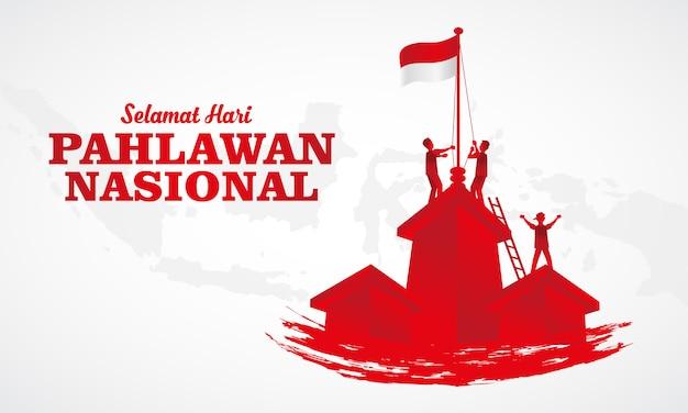 Illustration. selamat hari pahlawan nasional. übersetzung: glücklicher indonesischer nationalhelden-tag. geeignet für grußkarte, poster und banner