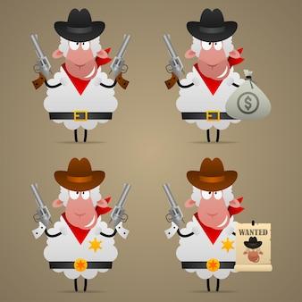 Illustration, set schafe cowboy in verschiedenen posen, format eps 10