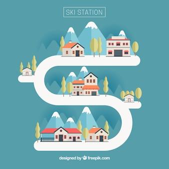 Illustration skigebiet in flaches design