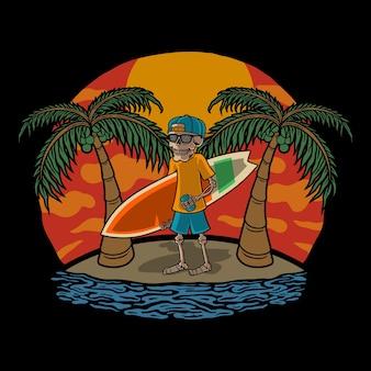Illustration skull surf und beach premium vector