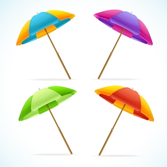 Illustration sonnenschirm set. das symbol der sommerferien