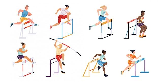 Illustration sportler wettbewerb hürde