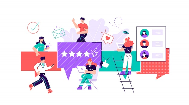 Illustration, stil, geschäftsleute diskutieren soziale netzwerke, nachrichten, soziale netzwerke, chat, dialog sprechblasen.