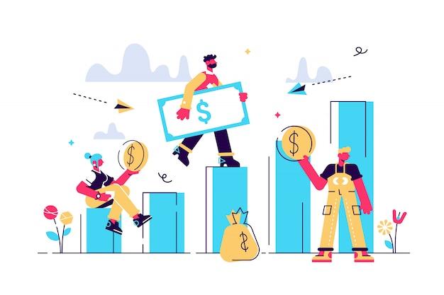 Illustration, stil, geschäftsmann, der die treppe hinunterläuft und geld hält