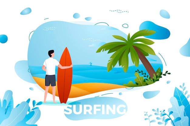 Illustration - surfen mann am strand. palme, sand, meer im hintergrund.