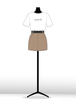 Illustration t-shirt und rock auf einer flachen skizzenvorlage der schaufensterpuppe mode