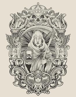 Illustration todesengel frau mit gravur ornament stil
