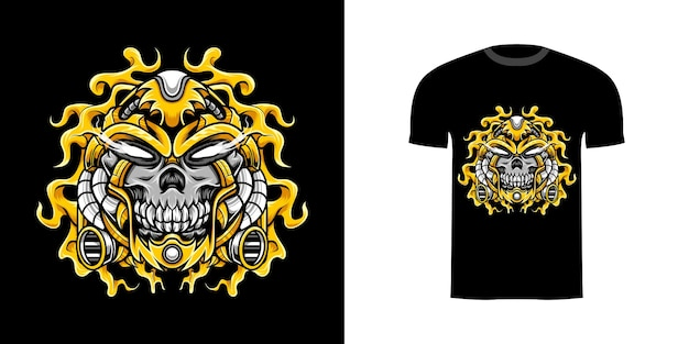 Illustration totenkopf cyborg mit gravur ornament für t-shirt design