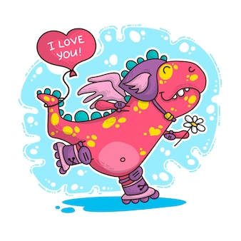 Illustration über dinosaurier in der liebe