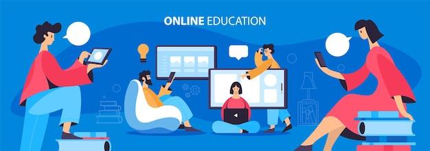 Illustration über online-bildungskonzept. menschen, die mit geräten lernen