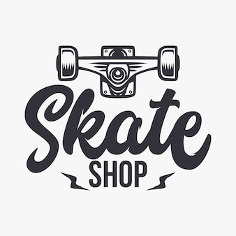 Illustration und beschriftung des skateshops
