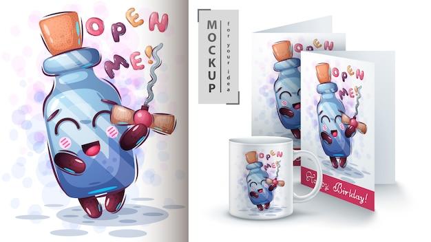 Illustration und merchandising der sektflasche