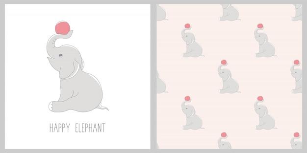 Illustration und nahtloses muster mit niedlichem elefanten.