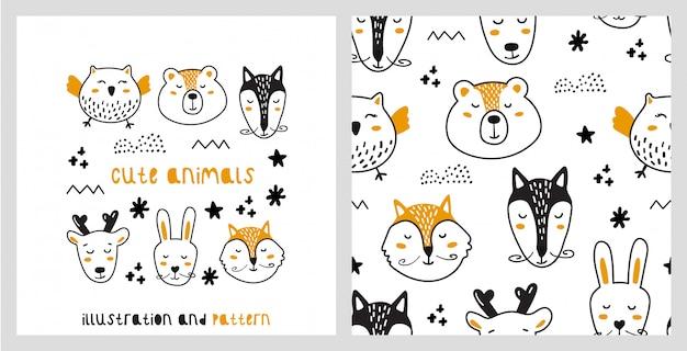 Illustration und nahtloses muster mit niedlichen tieren im skandinavischen stil.